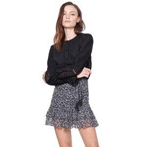 Veronica Beard Nia Floral Ruffle Silk Mini Skirt